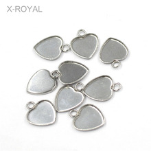 X-ROYAL 20Pcs/lot Heart Shape Stainless Steel Blank Bases Fish Scale Babysbreath Cabochon Charm Pendants Diy Ear Settings