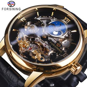 Forsining Skeleton Dial Dual Time Zone Mechanical Watch Black Gold Leather Band Moon Phase Tourbillon Waterproof Automatic Watch
