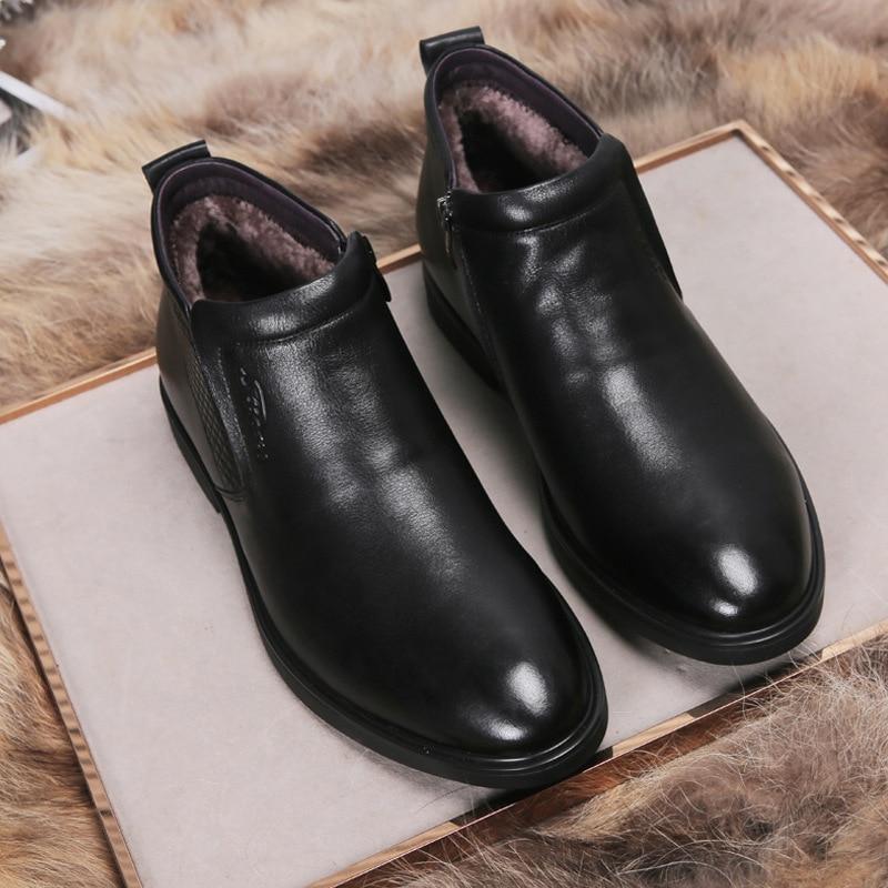 Image 3 - Genuine Leather men winter boots Ankle Boots Fashion Footwear  boot shoes men Casual High Top Men Shoes zapatos de hombreChelsea Boots   -