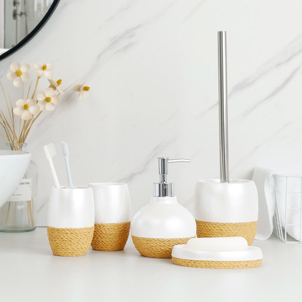 Bathroom Accessories Set Exquisite Relief Style Soap Dispenser Lotion Dispenser Soap Dish Toothbrush Holder Toilet Brush Holder