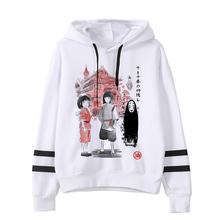 Spirited Away Totoro japoński kaptur kobiety bluza z kapturem Studio Ghibli bluza Kawaii ponadgabarytowych kreskówka kobieta Ulzzang Anime Hoody tanie tanio ojuiyuhu Modalne CN (pochodzenie) Zima REGULAR Pełna Suknem Swetry Cartoon Japan style
