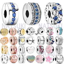 Hot Sale 925 Sterling Silver Sparkling Heart Clip Charm Beads Fit Original Pandora Charm Bracelet Jewelry Gift