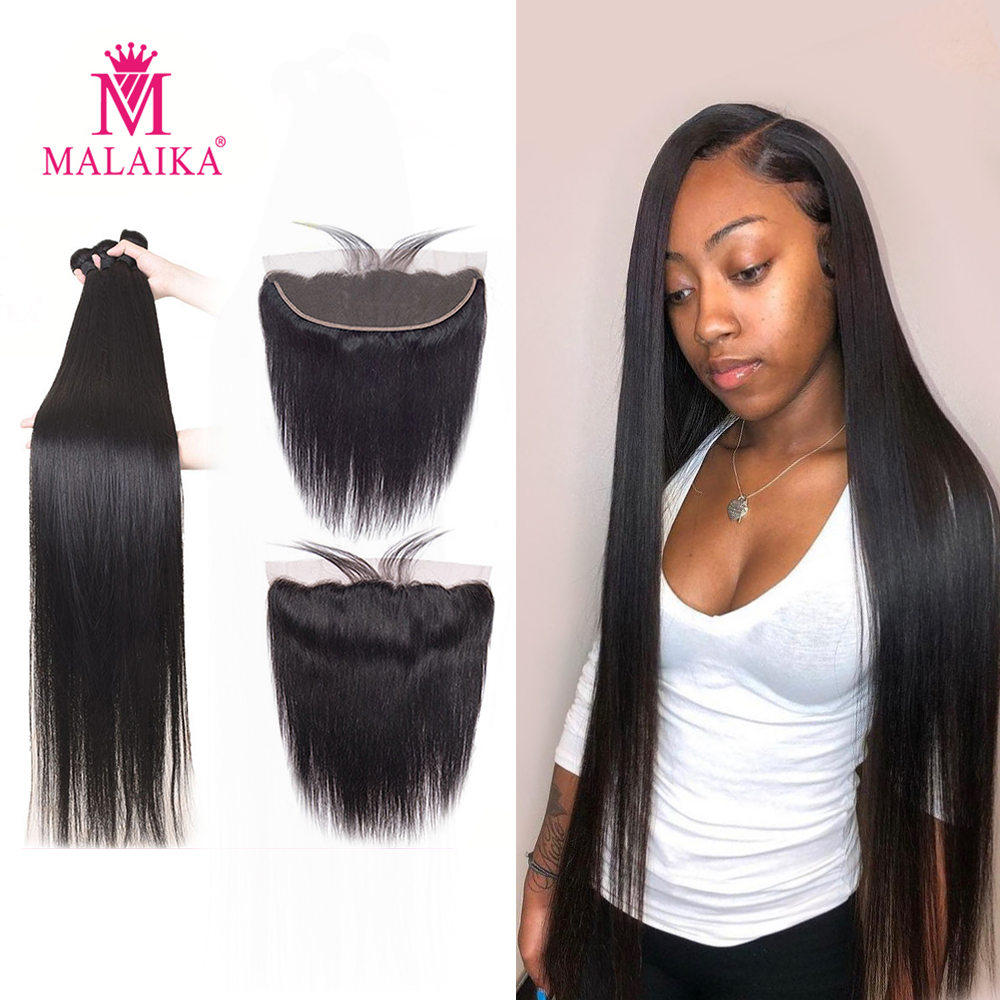 Hair-Weave-Bundles Closure Frontal Malaika Straight 40inch with 34 30-32 Remy