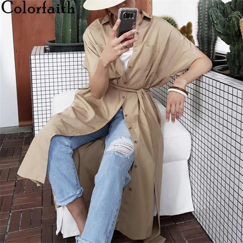 Colorfaith New 2020 Women Summer Blouses Shirts Single Breasted Casual Irregular Split Pockets Sashes Loose Long Tops BL6002