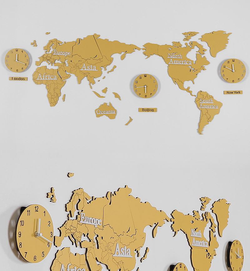 Wood Map of the World with Time Zone Clocks