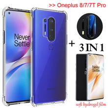 3-in-1 full hydrogel film for oneplus 7 t 8pro Airbag Case oneplus-7t pro Soft Glass Case one plus 7 pro oneplus 8 Back Cover original new back glass oneplus 7 7t pro battery cover door one plus 7t rear housing case oneplus 7 pro battery cover panel