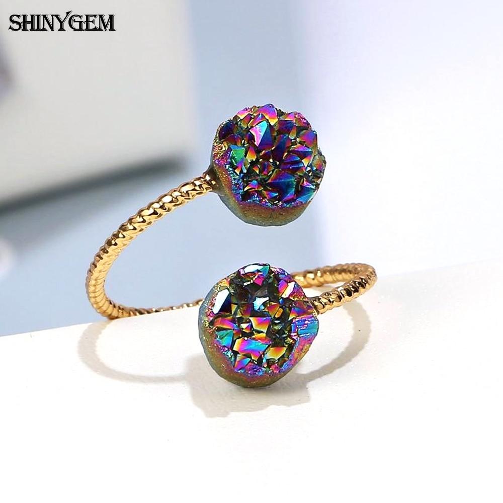 ShinyGem de moda Irregular Natural Druzy piedra de ópalo anillo de oro alambre con recubrimiento Vintage ajustable Anillos de Compromiso de boda para las mujeres
