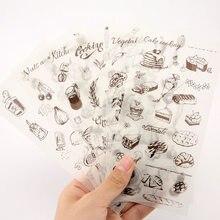 6 unidades/pacote bolo de papel de cozinha papelaria adesivo diy dos desenhos animados para planejador scrapbooking diário decoração pegajosa escola material de escritório