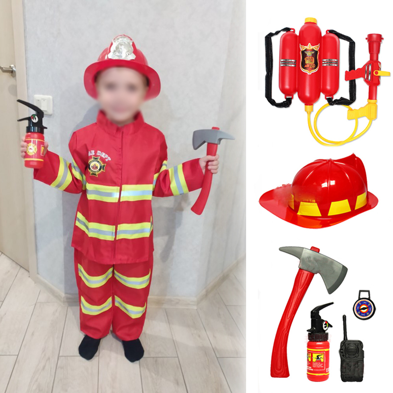 Children Halloween Fire Fighter Cosplay Costume Carnival Party Performance Sam Fireman Uniform Role Play Work Clothing Outfits