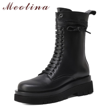 Meotina Real Leather Motorcycle Boots Women Shoes Platform Thick High Heel Mid Calf Boots Lace Up Lady Boots Zip Winter Autumn autumn winter new suede leather female beautiful fringe boots sexy high heel long tassel mid calf boots tide women mid calf boot