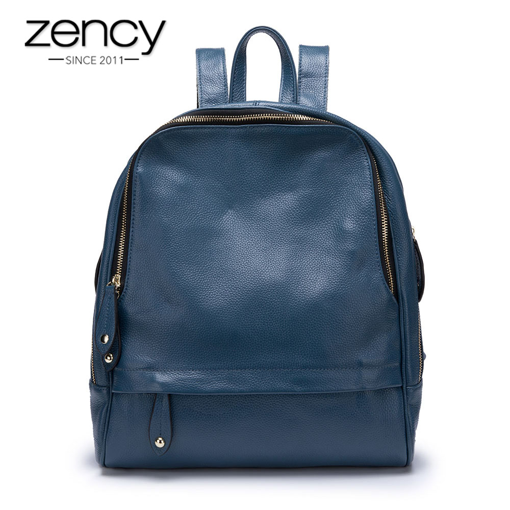 Zency 100% Genuine Leather Fashion Blue Women Backpack Large Capacity Holiday Knapsack Girl's Schoolbag Big Travel Bag