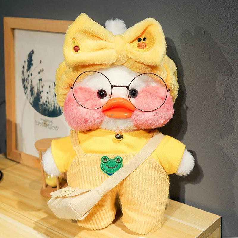30cm Cute LaLafanfan Coffee Yellow Duck Plush Toy Creative Stuffed Duck Soft Doll Animal Dolls Baby Toys Birthday Gift For Girl