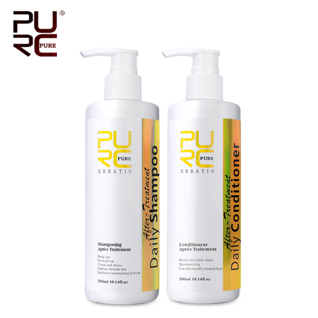 PURC 300ml Daily shampoo and conditioner hair care set professional use for keratin hair treatment make hair smoothing and shine 1