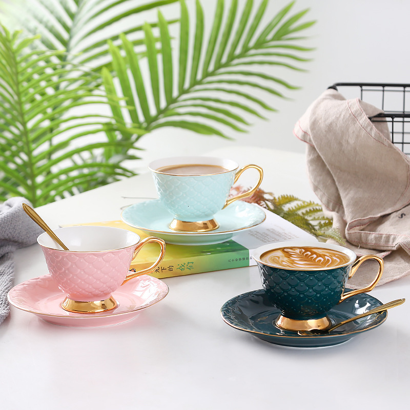 Luxury Ceramic Coffee Cup And Saucer Set New Design Afternoon Tea Mugs Breakfast Milk Cup Scented Dish With Spoon Christmas Gift|Coffee Cup & Saucer Sets| |  - title=