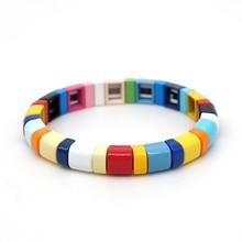Shinus Rainbow Bracelet Enamel 2020 Tile Bracelets Bohemian Women Multicolor Jewelry Stackable Stretch Bangle Handmade Customize