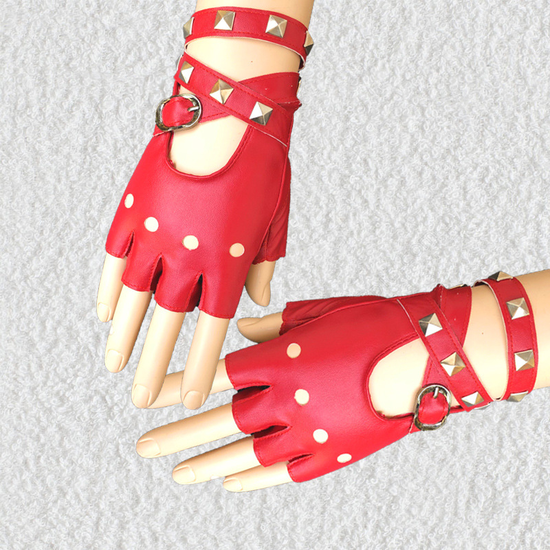 New Women Rivet Belt Punk Cool Gloves Personality Nightclub Disco Dancing Women's Cutout Fingerless PU Leather Gloves