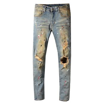 Mens Painted Holes Ripped Torn Denim Jeans Vintage Blue Distressed Stretch Denim Pants High Quality Skinny Jeans Men Trousers skinny jeans for men distressed stretch jeans ice blue ripped skinny jeans slim fit dropshipping supply white tape design
