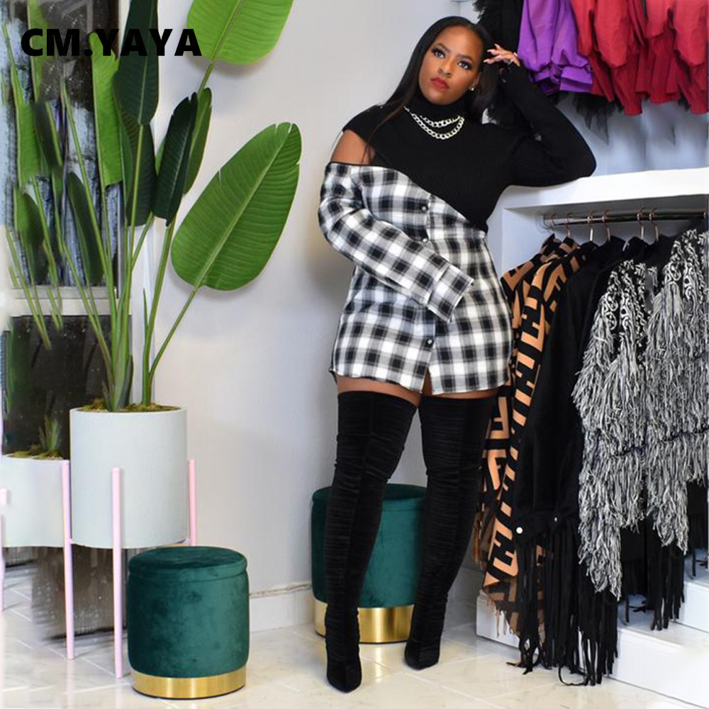 CM.YAYA Frauen Plaid Patchwork Rollkragen Langarm Blusen Tops Streetwear Fashion Shirts Plus Größe S-4XL
