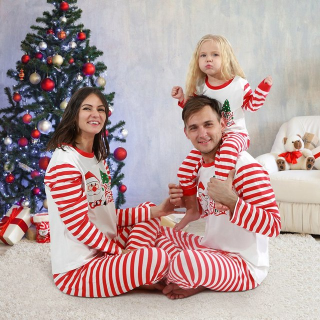 Christmas Family Pajamas Set Christmas Clothes Parent-child Suit Home Sleepwear Cotton Baby Kid Dad Mom Matching Family Outfits 3