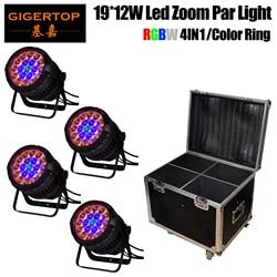 Promocyjna cena 4 paczka RGBW wodoodporny Zoom Led etap reflektory Par szklana pokrywa gładki ściemniacz dobre rozpraszanie ciepła dla Club Party KTV