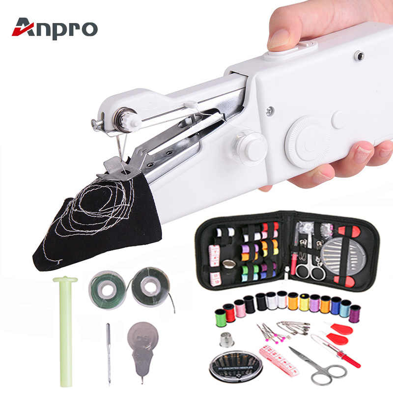 Anpro Portable Mini Hand Sewing Machine Household Cordless Electric Stitch Needlework Set for Quick Repairs DIY Clothes Stitchin