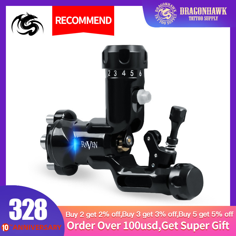 Rotary Tattoo Machine Dragonhawk Raven Tattoo Guns Professional Strong Motor Tattoo Supply