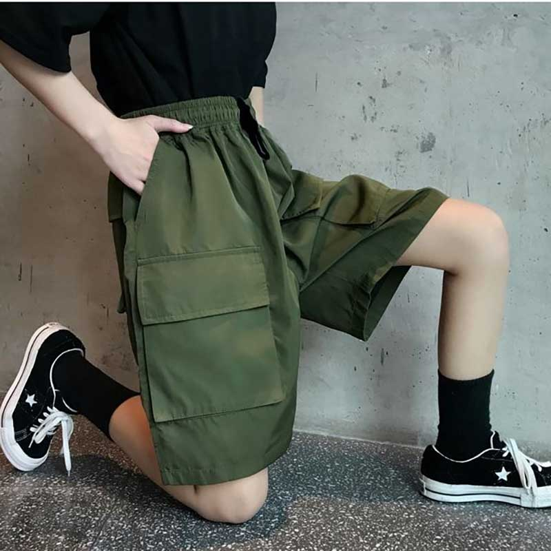 NiceMix Hip Hop Lovers Summer New Loose Cotton Calf Length Elastic High Waist Women Bermuda Basic Pant Hip Hop Amy Green Black