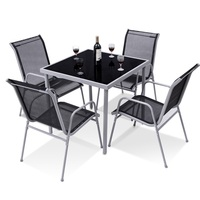 5 Pieces Bistro Set Garden Chairs and SquareTable Set Steel Patio Outdoor Furniture Sets HW56649