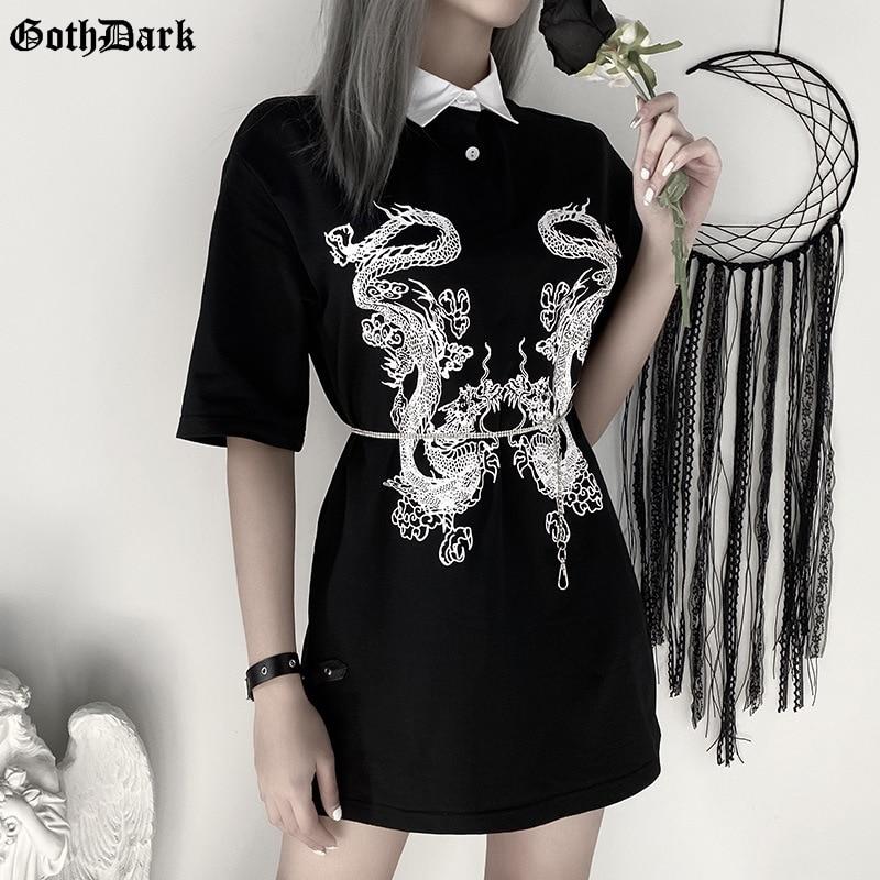 Goth Dark Dragon Print Vintage Gothic Female T-shrits Spring 2020 Egirl Grunge Punk Emo Y2K Aesthetic Harajuku Tshirt Women Chic