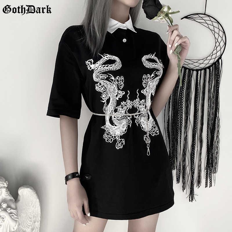 Goth escuro dragão impressão gótico do vintage feminino t-shrits primavera 2020 egirl grunge punk emo y2k estética harajuku tshirt feminino chique