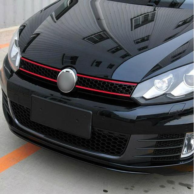Samochód naklejane paski odblaskowe naklejki przednia maska Grille naklejki Car Styling dekoracja samochodu pasuje do VW Golf 6 7 Tiguan CSV