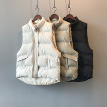 2020 Women Vest Coat Stand Collar Winter Women Chic Cotton Warm Tops Oversized Vest Chaleco Mujer Gilet Casaco Feminino