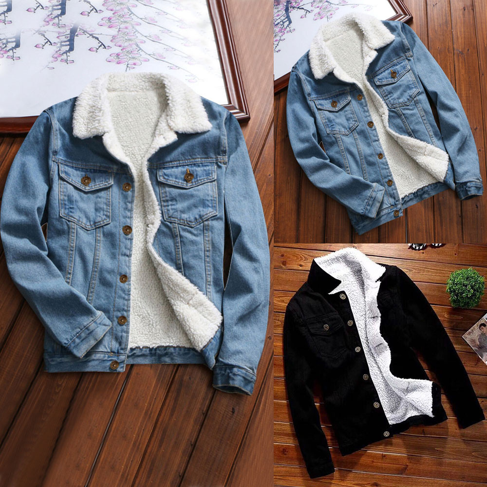 Denim Jacket Outwear Jeans Coat Autumn Winter Women Long-Sleeve with Fur Warm Upset Vintage title=