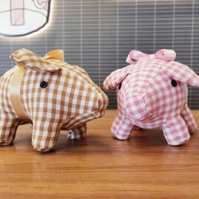 25cm Check Cloth Piggy Doll Standing Satin Dressed Small Pig Animal Toy Brown Blue Pink Wedding Children Present 2