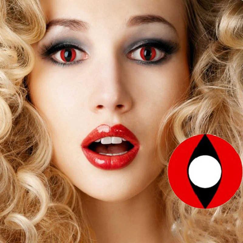 1 para (2 szt.) Cosplay soczewki kontaktowe do oczu Halloween kosmetyczne renderowanie Anime kocie oko kontakty z kolorowe szkła
