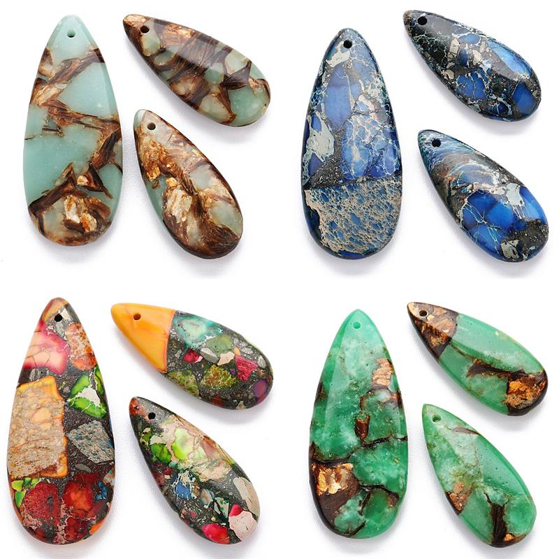 10 Colors Imperial Natural Stone Earrings Big Waterdrop Charms For Women Necklace Pendants Handmade Diy Jewelry Making DIY Jewel