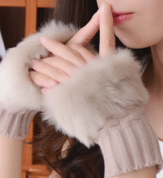 Winter Gloves Female Fingerless Gloves Without Fingers Faux Fur Wrist Mittens Knit Patchwork Plush Handschoenen