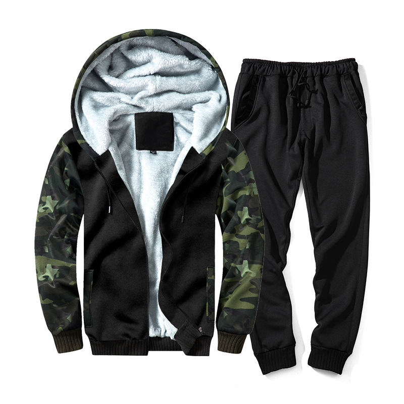Autumn And Winter Thick Long-sleeve Sweater Set Men's Camouflage Cardigan Contrast Color Hoodie Of Rope Beam Foot Trousers Two-P