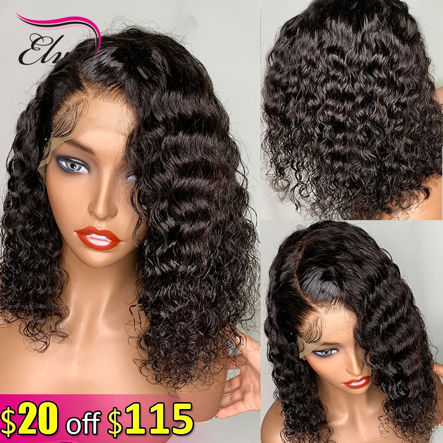 Elva Hair 13x6 Lace Front Human Hair Wigs Pre Plucked With Baby Hair 150% Density Remy Short Bob Curly Hair Wigs For Black Women