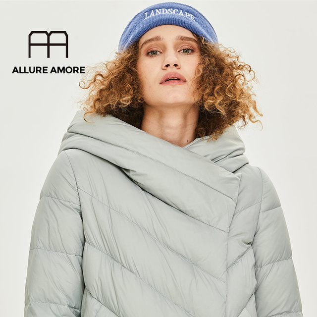 AllureAmore Winter and Autumn Outwear Women White Duck X-Long Down Warm Jacket in Hooded Fashion Cocoon Parkas Plus size design