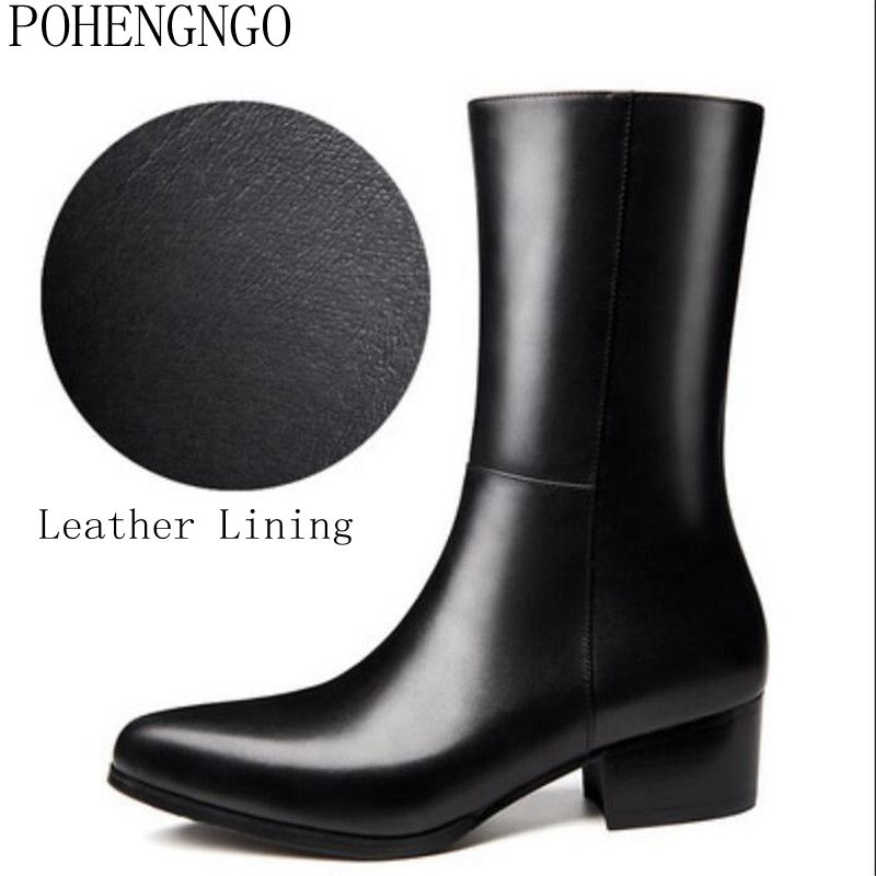 New Arrival Designer High-Top Man Formal Shoes Genuine Leather Pointed Toe 5cm work boots High Heels Men's Mid-Calf Long Boots
