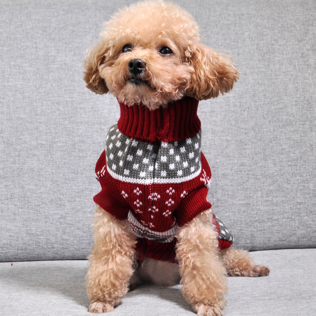 Christmas Cat Dog Sweater Pullover Winter Clothes for Small Dogs Chihuahua Yorkies Puppy Jacket Pet Clothing 4