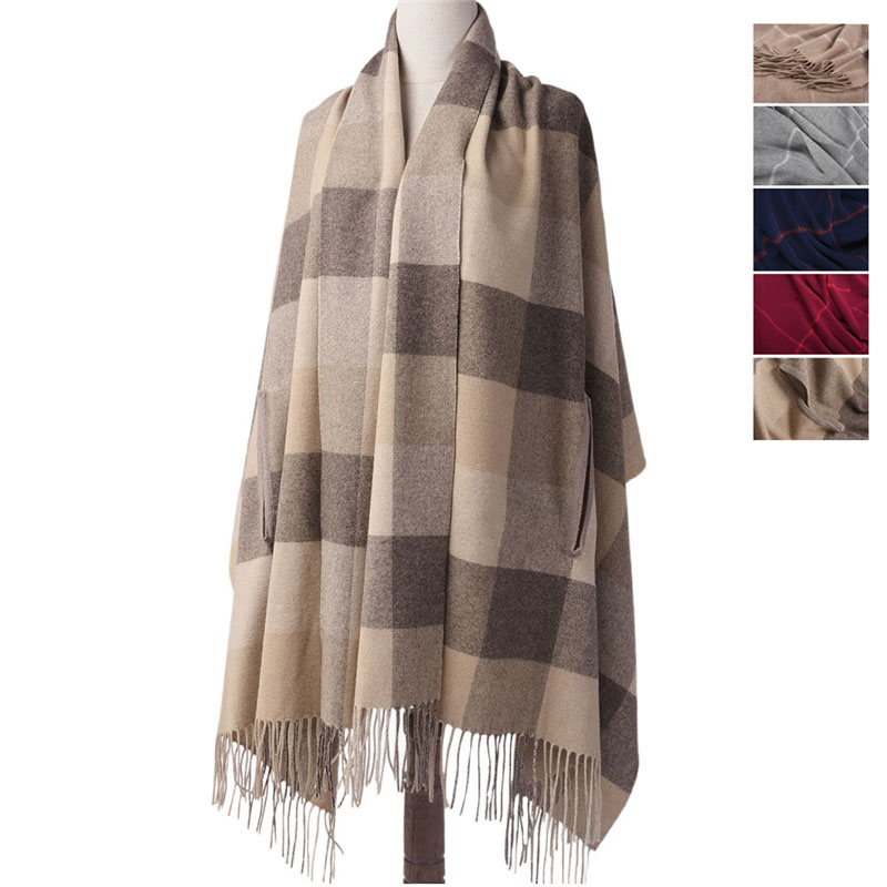 CAVME Plaid Wool Poncho Pashmina Scarf Women Wearing Ladies Scarves Woolen Blanket Shawl Cappa with Tassels 80*194cm 330g