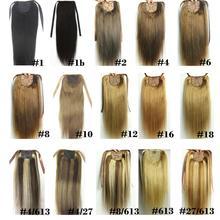 """ZZHAIR 100 г 1""""-28"""" машинное производство remy волосы лента Конский хвост на заколках человеческие волосы для наращивания конский хвост Натуральные Прямые Волосы"""