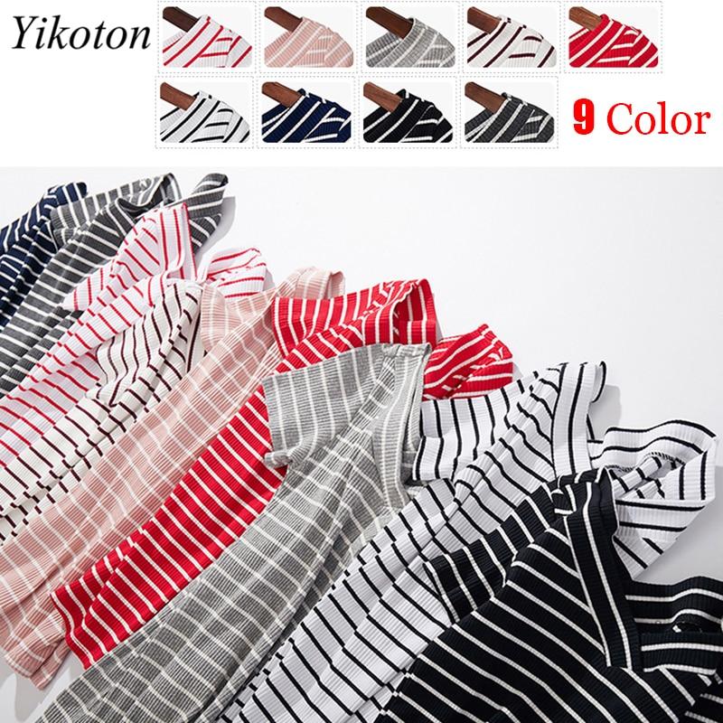100% Cotton Womens T-Shirt Stripes V Collar T Shirts Short Sleeve Clothes Women Slim Basic Tshirt Casual Top Tees For Female 5