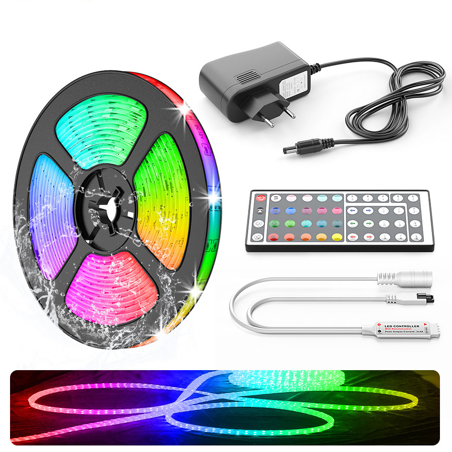 5M LED Light Strip  RGB 5050 SMD Led Flexible Ribbon Fita Led Strip Lights 10M 15M 20M Tape Diode DC12V +Remote Control +Adapter