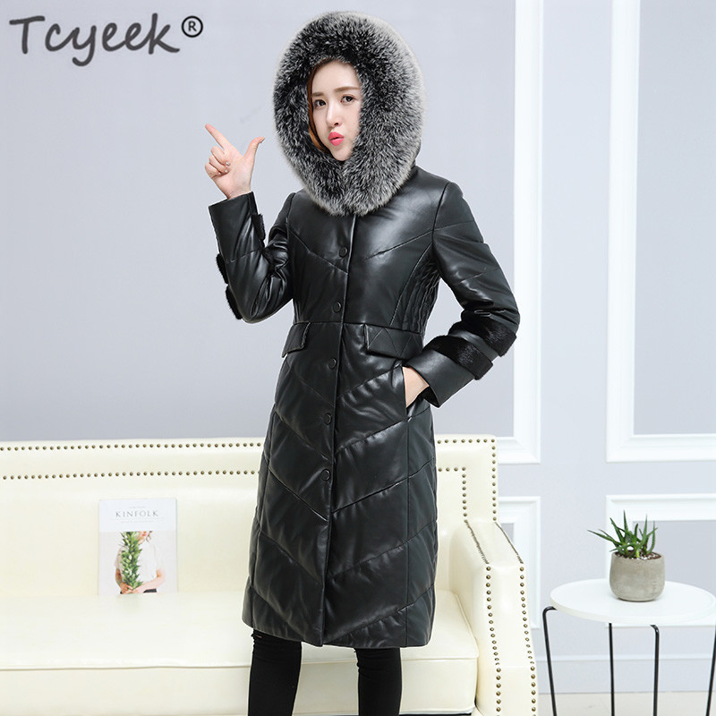 Genuine Leather Down Jacket Women Winter Long Sheepskin Coat Real Leather Jacket Fox Fur Hooded Plus Size 5XL 6XL LWL1176
