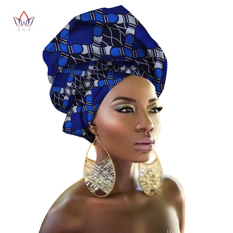 African Turban Wax Fabric Headwrap Ankara Bonnets Hair Accessories Bandanas Head LadyHijab Scarf Hat Long Tail Cap South Africa