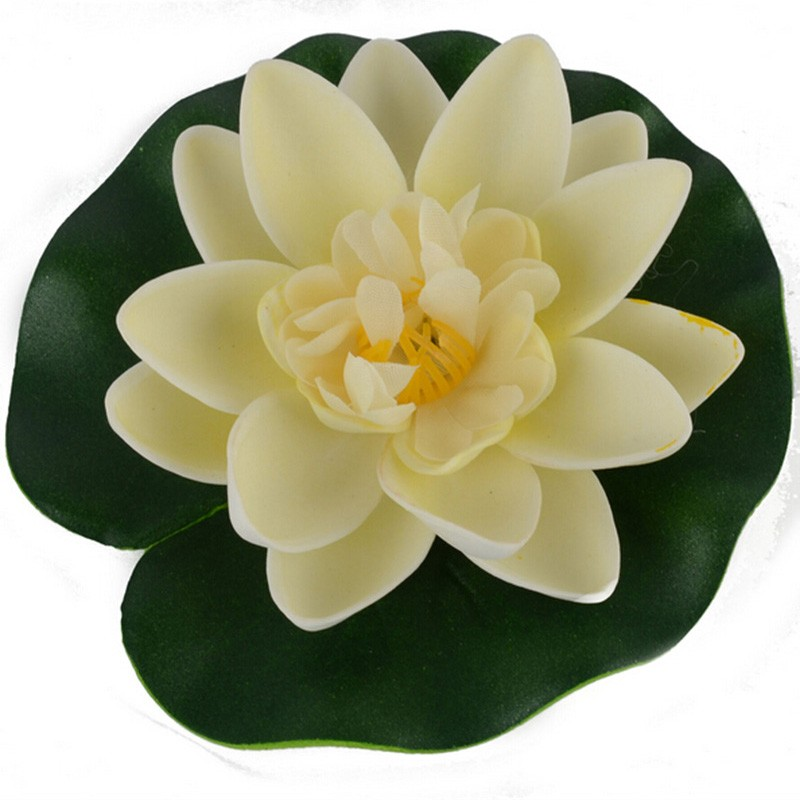 1 PCS Artificial Lotus Water Lily Floating Flower Pond Tank Plant Leaf Ornament 10cm Home Wedding Garden Pond Pool Decoration
