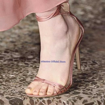 Summer fashion concise nude black leather narrow band knot strap ankle wrap sandals  thin high heel Woman heeled dress shoes